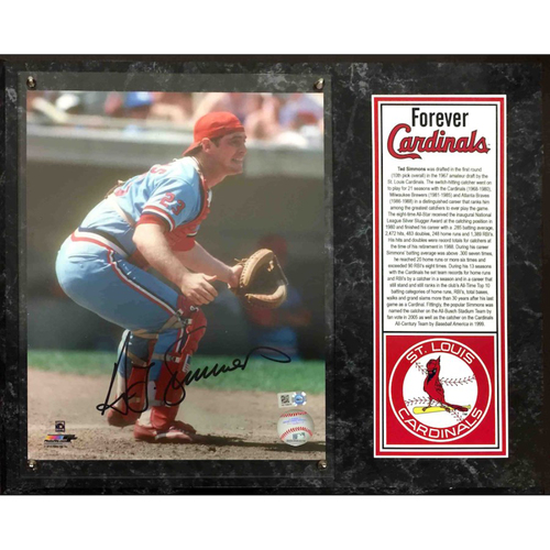 Photo of Cardinals Authentics: St. Louis Cardinals Ted Simmons Autographed Photo Plaque - Forever Cardinals Collection