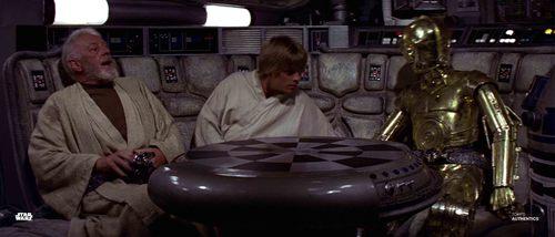 Luke Skywalker, Obi-Wan Kenobi, C-3PO and R2-D2