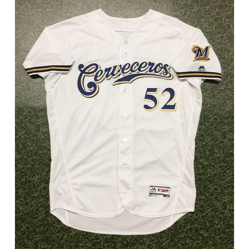 Jimmy Nelson 2019 Game-Used Cerveceros Jersey
