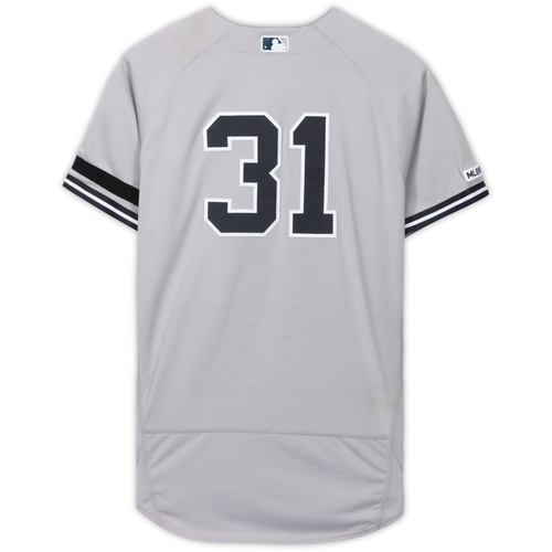 Photo of Aaron Hicks New York Yankees Game-Used #31 Gray Jersey vs. Kansas City Royals on May 26, 2019