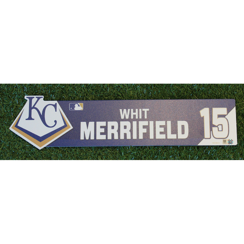 Photo of Game-Used Locker Nameplate: Whit Merrifield (CWS @ KC - 7/16/19)