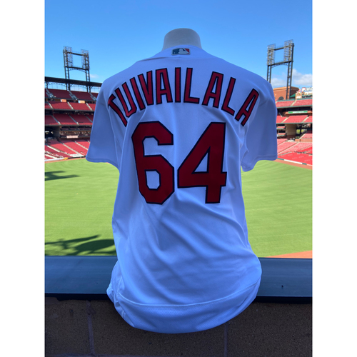 Photo of Cardinals Authentics: Sam Tuivailala Game-Used Home White Jersey