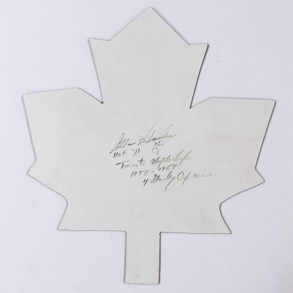 Allan Stanley Autographed Maple Leaf Cut-Out w/Multiple Inscriptions