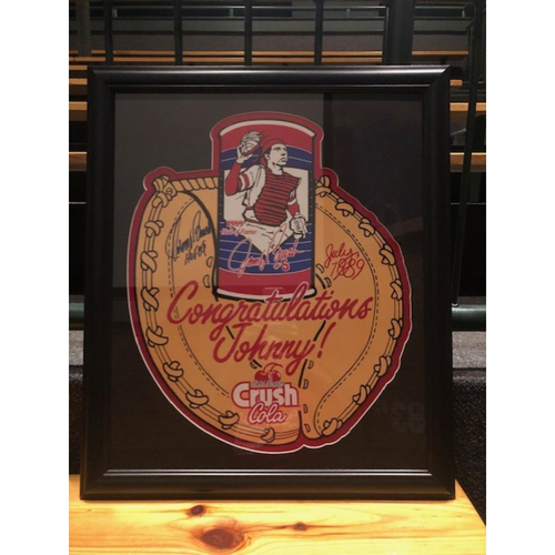 Photo of Framed Johnny Bench Autographed Crush Cola Sign