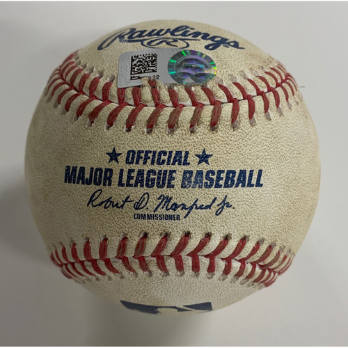 Photo of Game Used Baseball - 9/5/20 - Batter: Jose Ramirez, Pitcher: Devin Williams - Strikeout