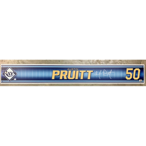Photo of Rays Baseball Foundation: Team Issued Autographed Locker Tag - Austin Pruitt