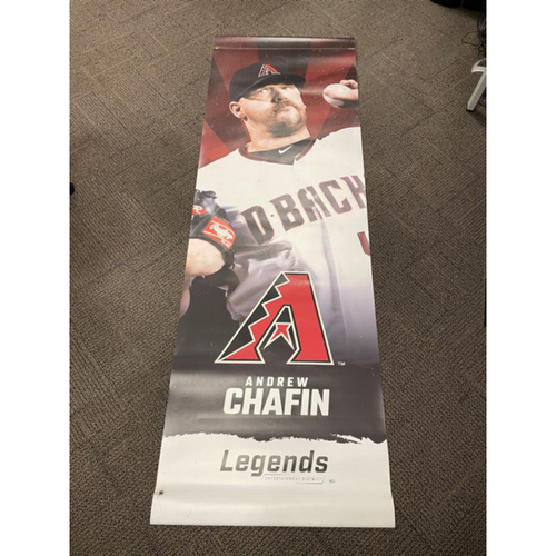 Photo of Andrew Chafin 2020 Team-Issued Double-Sided Street Banner - Approximately 93 inches tall by 31 inches wide
