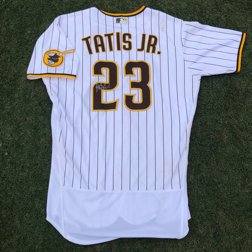 Photo of WAS @ SD - Fernando Tatis Jr. 28th Home Run Game Used Autographed Home Jersey. 2x5, HR off of Max Scherzer - 7/8/2021
