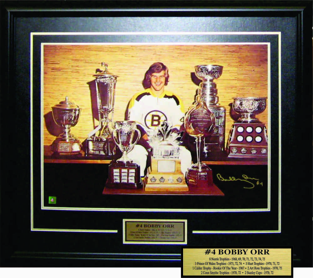 Bobby Orr - Signed & Framed 18x14 Etched Mat - Posed With Trophies