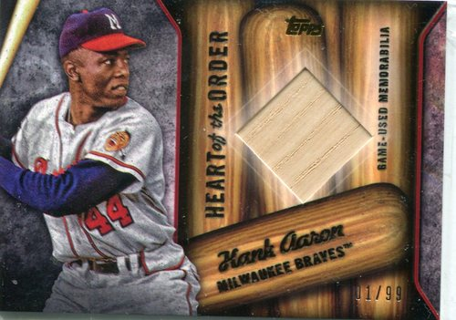 Photo of 2015 Topps Heart of the Order Relics Hank Aaron 01/99 -- Hall of Famer
