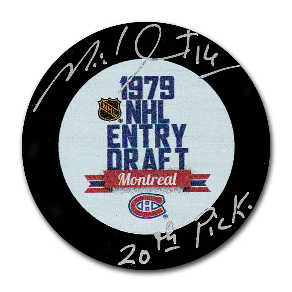 Michel Goulet Autographed 1979 NHL Entry Draft Puck w/20th PICK Inscription