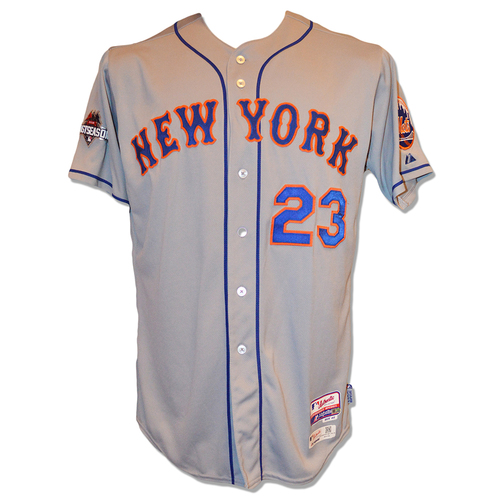 Photo of Michael Cuddyer #23 - Game Used Road Grey 2015 Postseason Jersey - Worn Game 5 of NLDS - Mets vs. Dodgers - Worn Game 3 of NLCS - Mets vs. Cubs