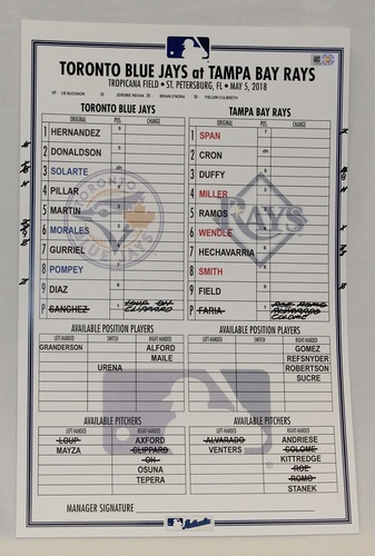Photo of Authenticated Game Used Lineup Card - May 5, 2018 vs Tampa Bay Rays: Teoscar Hernandez and Lourdes Gurriel Jr. had Home Runs in the Game.