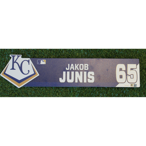 Photo of Game-Used Locker Nameplate: Jakob Junis (CWS @ KC - 7/16/19)
