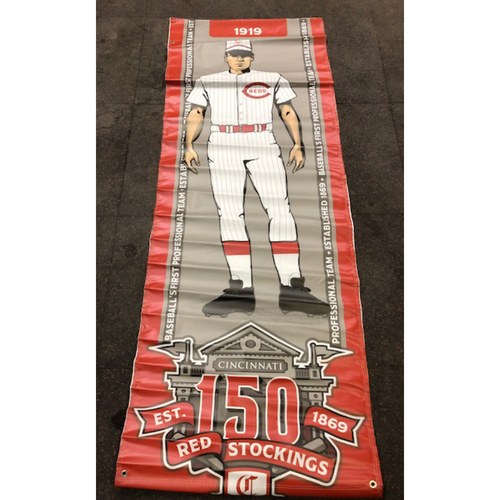 Photo of Reds 1919 Throwback Uniform Banner From Downtown Cincinnati & Great American Ball Park