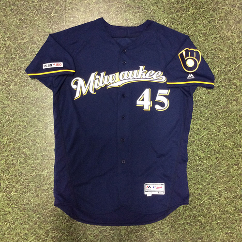 Photo of Jhoulys Chacin 2019 Game-Used Navy Ball & Glove Jersey