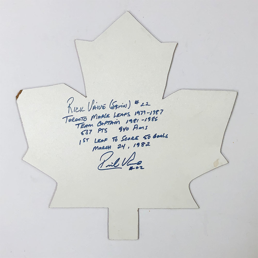 Rick Vaive Autographed Maple Leaf Cut-Out w/Multiple Inscriptions