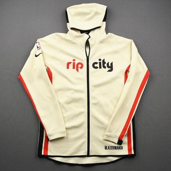 Image of Carmelo Anthony - Portland Trail Blazers - Game-Worn Earned Edition Game Theater Jacket - Recorded a Double-Double - 2019-20 NBA Season