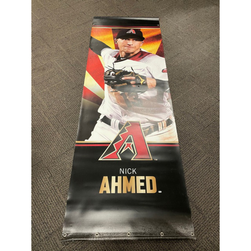 Photo of Nick Ahmed 2019 Team-Issued Double-Sided Street Banner - Approximately 93 inches tall by 31 inches wide