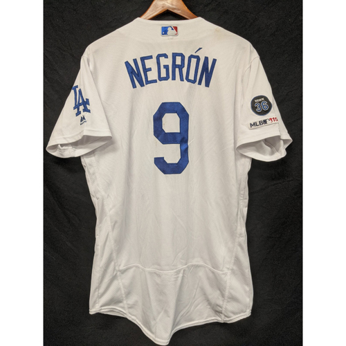 Photo of Kristopher Negron Game-Used Home Jersey, Last home Game of 2019