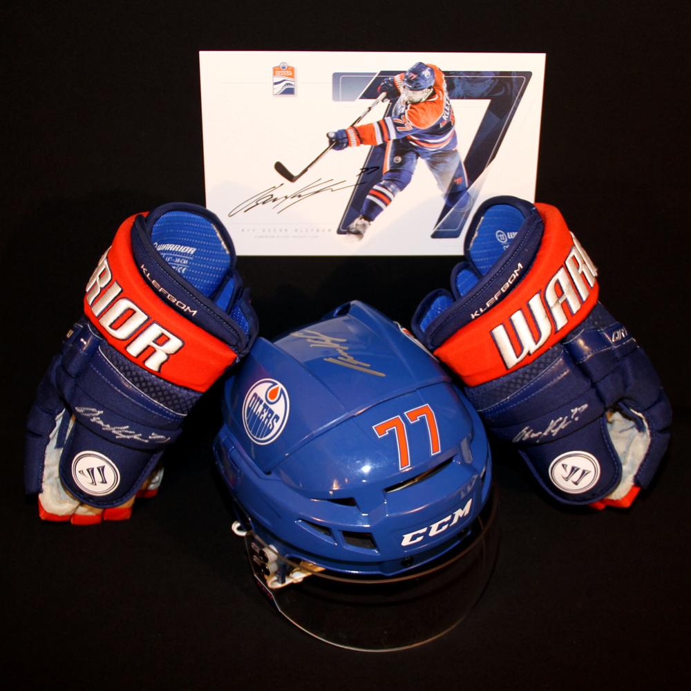 Oscar Klefbom #77 - Autographed 2016-17 (1st Half) Edmonton Oilers Game Worn Royal Blue CCM Helmet & 2016-17 Warrior Hockey Gloves - Includes Bonus Autographed Player Card!