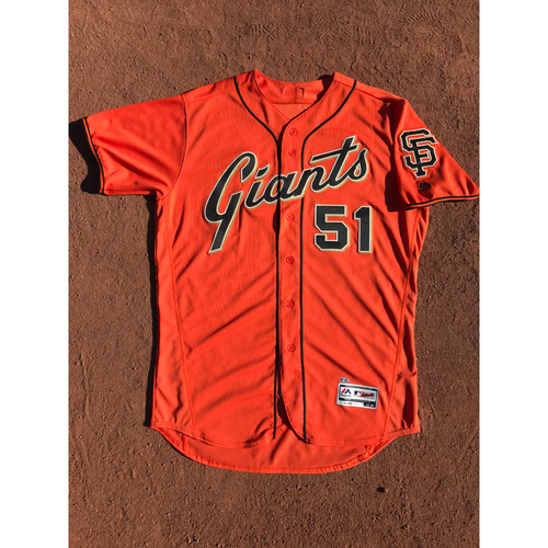 Photo of San Francisco Giants - 2017 Game-Used Jersey - #51 Mac Williamson - Orange Friday Alt - Worn 9/29 - Jersey Size 48