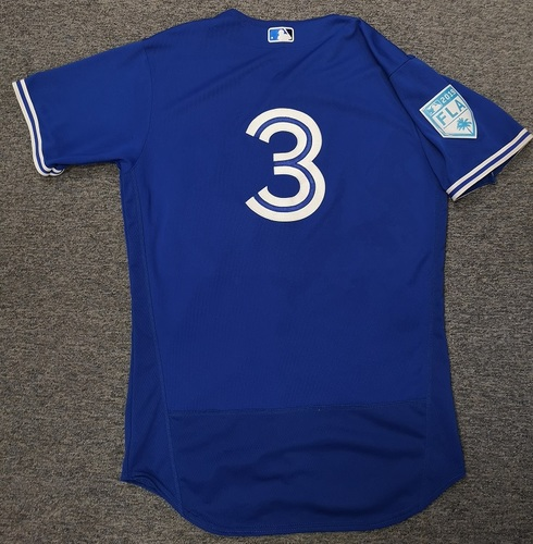 Photo of Authenticated Game Used 2019 Spring Training Jersey - #3 Brandon Drury (Mar 18: 2-for-3 with 2 Doubles and 1 Run. Mar 26: 1-for-2). Size 44