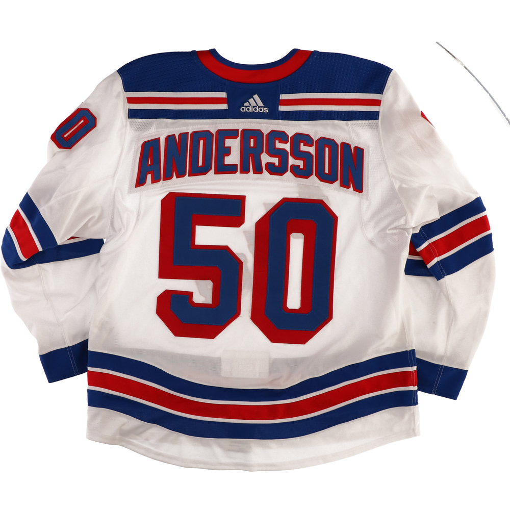 Lias Andersson New York Rangers Game-Used #50 White Jersey from the 2018-19 NHL Preseason - Size 56