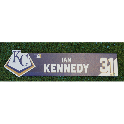 Photo of Game-Used Locker Nameplate: Ian Kennedy (CWS @ KC - 7/16/19)