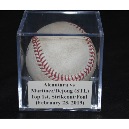 Photo of Game-Used Baseball: Sandy Alcántara vs Jose Martinez/Paul Dejong (STL), Top 1st, Strikeout/Foul (February 23, 2019)