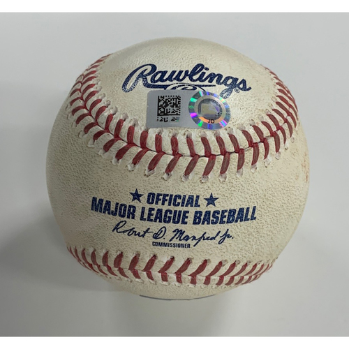 Photo of Game Used Baseball - 8/12/20 - Batter: Francisco Lindor, Pitcher: Kyle Hendricks - Groundout to Baez