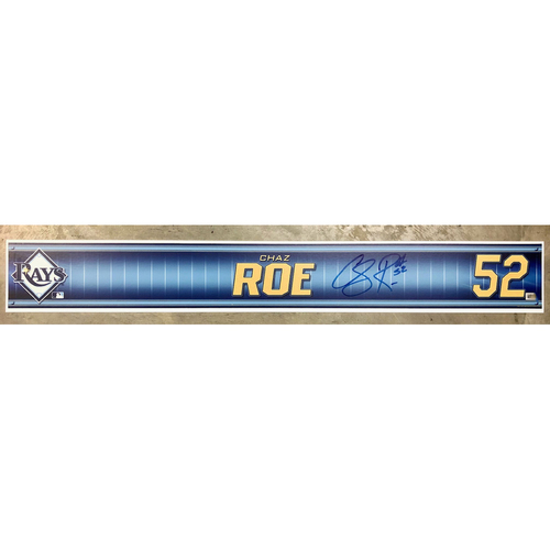 Photo of Rays Baseball Foundation: Team Issued Autographed Locker Tag - Chaz Roe