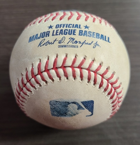 Photo of Authenticated Game Used Baseball: Foul by Randal Grichuk against Michael King (Sep 21, 2020 vs NYY). Bottom 3. Game played in Buffalo. Alejandro Kirk's 1st Career MLB HR Game.