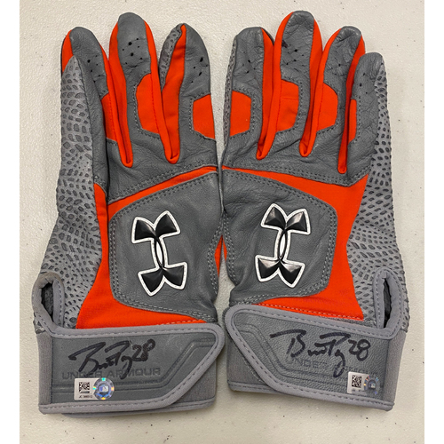 Photo of 2020 Cyber Monday Sale - #28 Buster Posey Autographed Gray & Orange Under Armour Batting Gloves