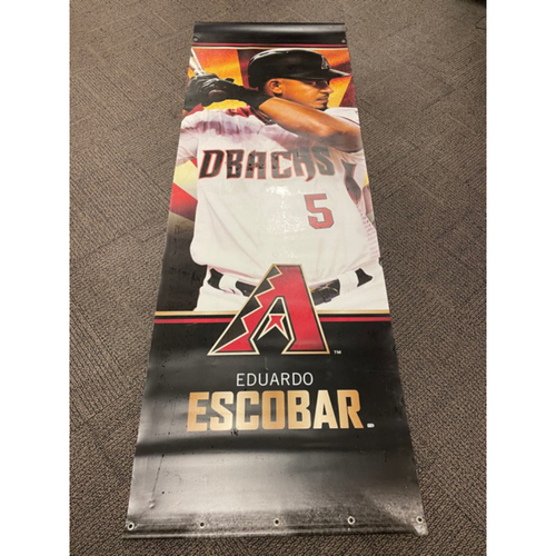 Photo of Eduardo Escobar 2019 Team-Issued Double-Sided Street Banner - Approximately 93 inches tall by 31 inches wide