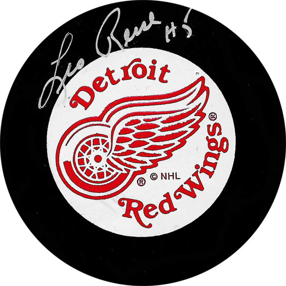 Leo Reise Autographed Detroit Red Wings Vintage Trench Puck