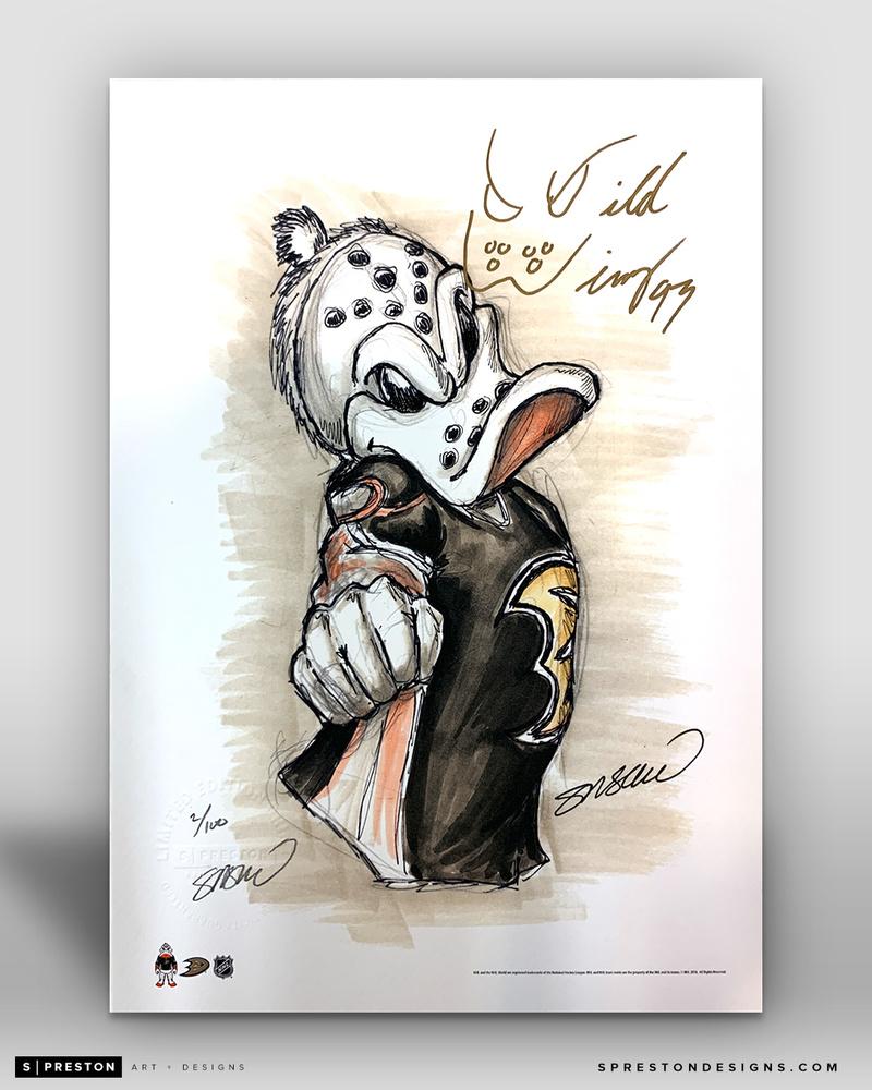 Autographed Wild Wing Limited Edition Sketch by S. Preston 11x17 Art Print - Anaheim Ducks Mascot