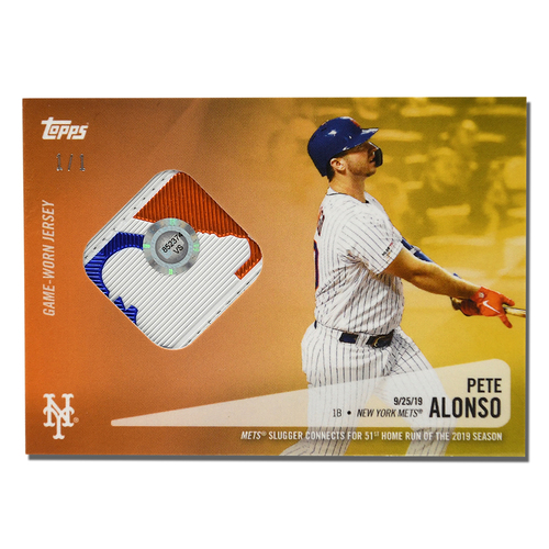 Photo of Pete Alonso #20 - Limited Edition 1 of 1 Gold Topps Card - Features Authenticated Game Used Jersey from 2019 Rookie of the Year Campaign - Alonso Hits 51st HR on 9/25/19