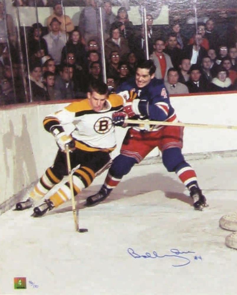 Bobby Orr - Signed 16x20 Bruins Action white jersey vs Arnie Brown