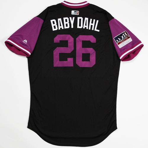 "Photo of David ""Baby Dahl"" Dahl  Colorado Rockies Game-Used 2018 Players' Weekend Jersey"