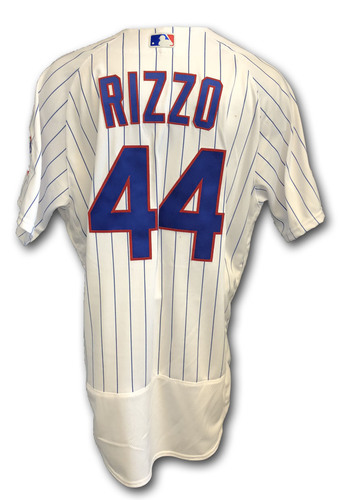 Photo of Anthony Rizzo Game-Used Jersey -- Rockies vs. Cubs -- 10/2/18 -- 2018 Postseason Wild Card