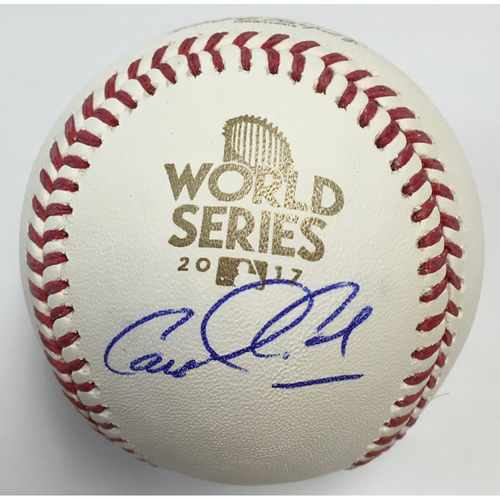 Photo of Carlos Correa Autographed 2017 World Series Logo Baseball