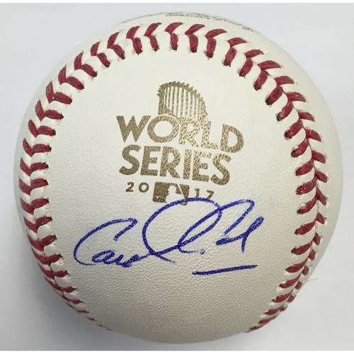 Carlos Correa Autographed 2017 World Series Logo Baseball