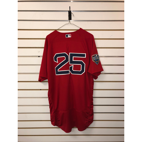 Photo of Steve Pearce Team-Issued 2018 World Series Home Jersey