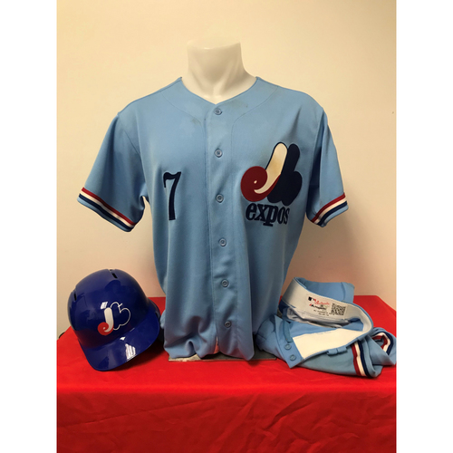 Photo of Trea Turner Expos Gear: Game-Used Jersey, Game-Used Pants, and Game-Used Batting Helmet