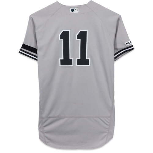 Photo of Brett Gardner New York Yankees Game-Used #11 Grey Jersey vs. Seattle Mariners on August 28, 2019