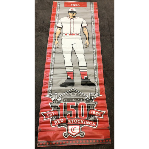 Photo of Reds 1935 Throwback Uniform Banner From Downtown Cincinnati & Great American Ball Park