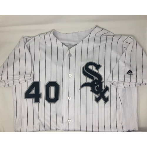 Photo of Reynaldo Lopez 2018 Team Issued White Pinstriped Jersey