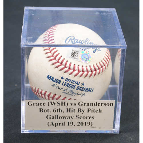 Photo of Game-Used Baseball: Matt Grace (WSH) vs Curtis Granderson, Bot. 6th, Hit By Pitch - Isaac Galloway Scores (April 19, 2019)