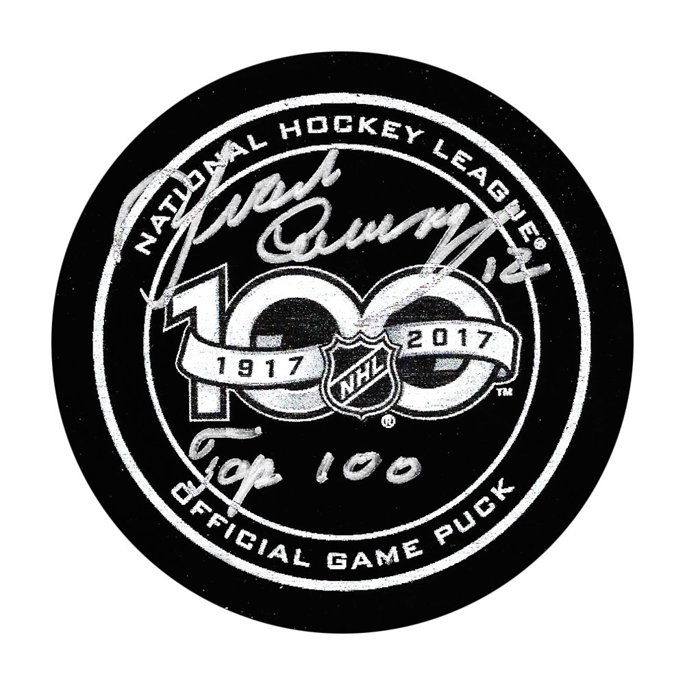Yvan Cournoyer Autographed NHL 100 Official Game Puck w/HOF 1982 Inscription